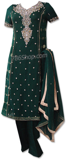 Dark Green Crinkle Chiffon Suit   | Pakistani Dresses in USA