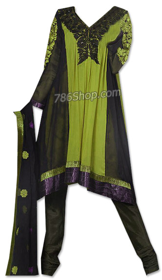 Black/Green Chiffon Suit   | Pakistani Dresses in USA