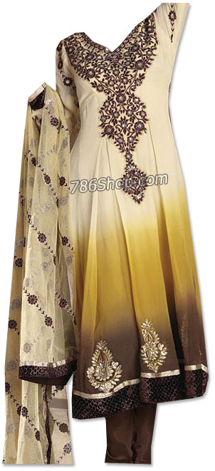 Cream/Brown Georgette Suit | Pakistani Dresses in USA
