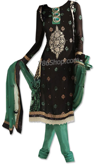 Black/Sea Green Chiffon Suit | Pakistani Dresses in USA