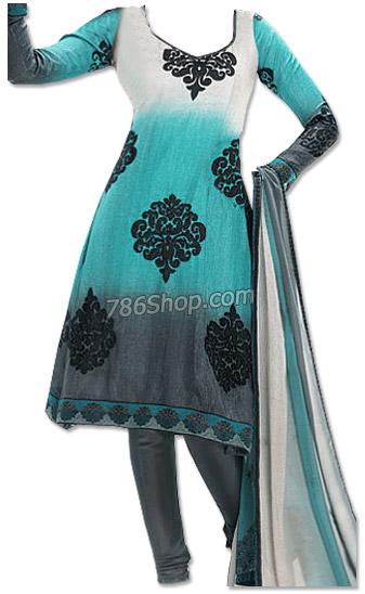 Light Turquoise/Grey Chiffon Suit | Pakistani Dresses in USA