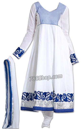 White Georgette Suit    Pakistani Dresses in USA