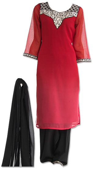 Red/Black Chiffon Suit   | Pakistani Dresses in USA