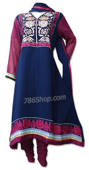 Navy Blue/Magenta Chiffon Suit | Pakistani Dresses in USA