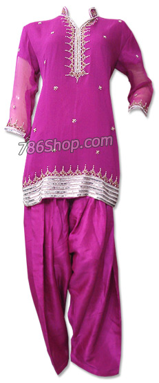 Hot Pink Crinkle Chiffon Suit | Pakistani Dresses in USA
