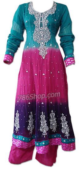 Teal/Hot Pink Chiffon Suit | Pakistani Dresses in USA