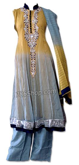 Mustered/Grey Chiffon Suit   Pakistani Dresses in USA
