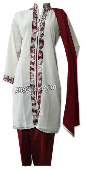 White/Magenta Georgette Suit | Pakistani Dresses in USA