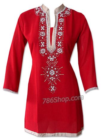 Red Georgette Kurti | Pakistani Dresses in USA