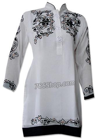 White Georgette Kurti | Pakistani Dresses in USA