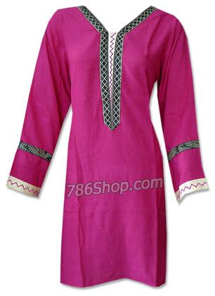 Shocking Pink Cotton Kurti  | Pakistani Dresses in USA