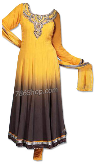 Yellow/Black Chiffon Suit | Pakistani Dresses in USA