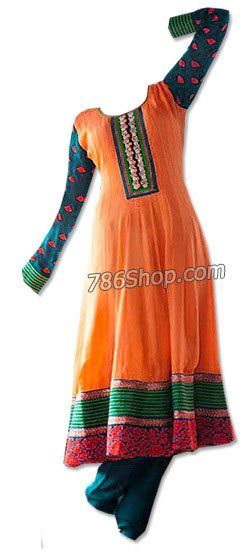 Orange/Blue Georgette Suit | Pakistani Dresses in USA