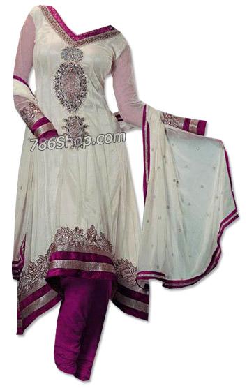 White/Purple Chiffon Suit | Pakistani Dresses in USA