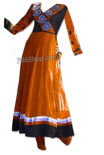 Orange/Black Chiffon Suit | Pakistani Dresses in USA
