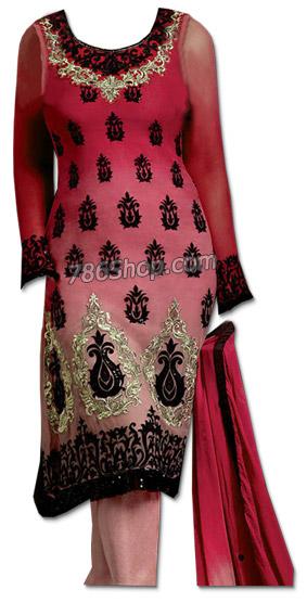 Brick Red/Pink Chiffon Suit | Pakistani Dresses in USA