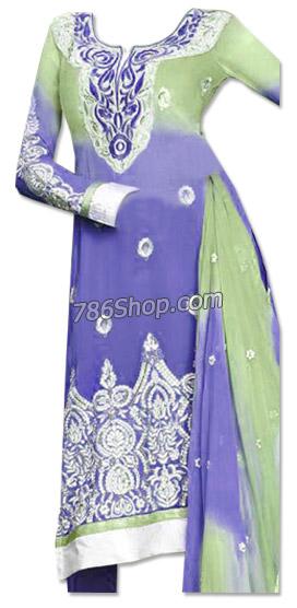 Blueberry/Light Green Chiffon Suit  | Pakistani Dresses in USA