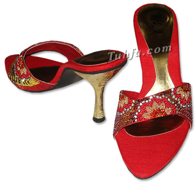 Product Details- women's shoes, men's shoes, ladies fancy shoes :  beaded dabka bead red