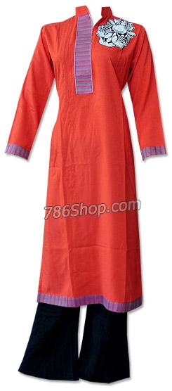 Red/Black Linen Suit | Pakistani Dresses in USA