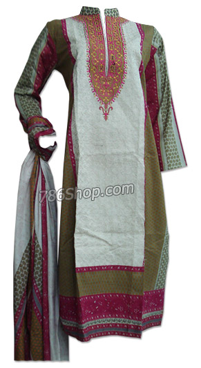 Off-White/Mehendi Cotton Suit  | Pakistani Dresses in USA