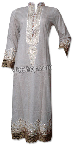 Off-white Cotton Shirt | Pakistani Dresses in USA