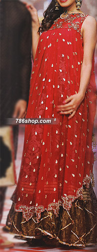 Red Jamawar Chiffon Suit | Pakistani Party and Designer Dresses