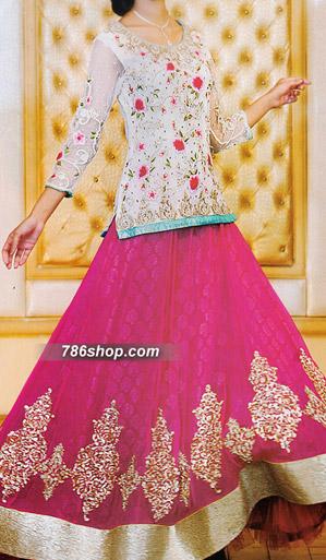 Off-white/Pink Jamawar Lehenga | Pakistani Wedding Dresses