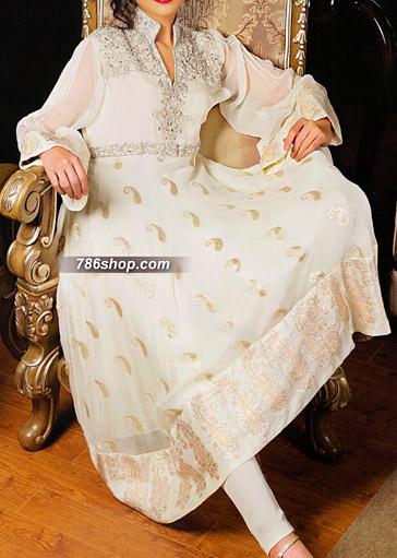 White Jamawar Chiffon Suit   Pakistani Party and Designer Dresses in USA