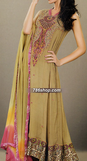 Mehndi Green Crinkle Chiffon Suit | Pakistani Party and Designer Dresses in USA