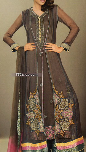 Dark Brown Crinkle Chiffon Suit | Pakistani Party and Designer Dresses in USA