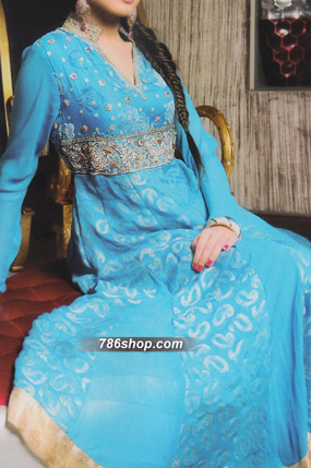Turquoise Jamawar Chiffon Suit | Pakistani Party and Designer Dresses in USA