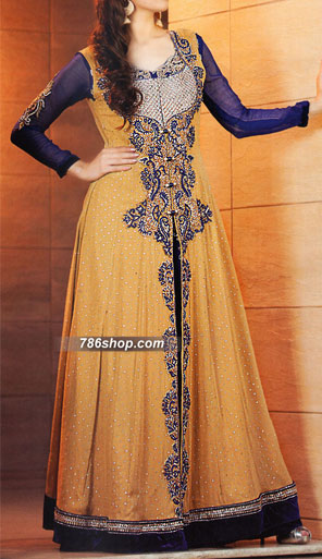 Mustard/Navy Blue Crinkle Chiffon Suit | Pakistani Party and Designer Dresses in USA