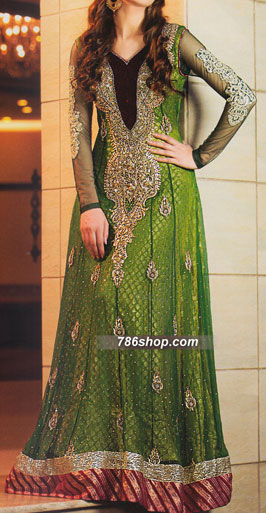 Green Crinkle Chiffon Suit   Pakistani Party and Designer Dresses in USA