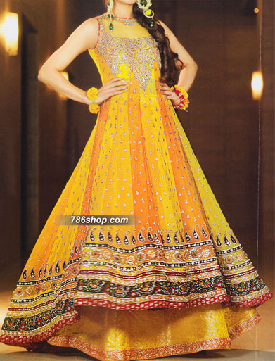 Yellow/Orange Crinkle Chiffon Suit | Pakistani Party and Designer Dresses in USA