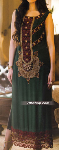 Dark Green Crinkle Chiffon Suit | Pakistani Party and Designer Dresses in USA
