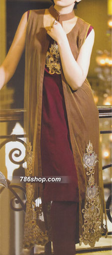 Brown/Maroon Crinkle Chiffon Suit | Pakistani Party and Designer Dresses in USA