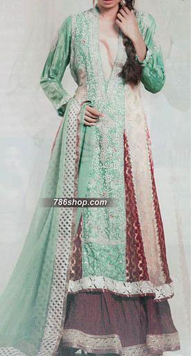 Sea Green/Maroon Silk Suit | Pakistani Wedding Dresses