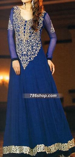 Blue Crinkle Chiffon Suit   Pakistani Party and Designer Dresses