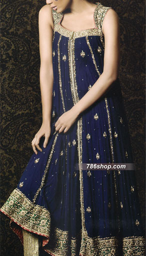 Navy Blue Crinkle Chiffon Suit | Pakistani Party and Designer Dresses in USA