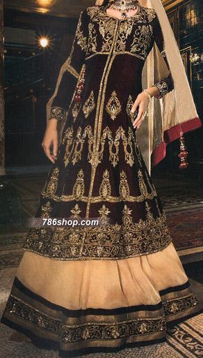 Dark Brown/Beige Crinkle Chiffon Suit   Pakistani Wedding Dresses in USA