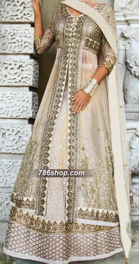 Off-white Crinkle Chiffon Suit | Pakistani Wedding Dresses in USA