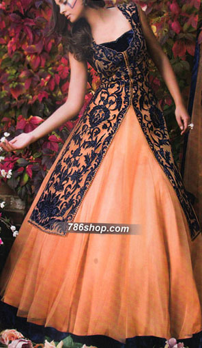 Peach Crinkle Chiffon Suit | Pakistani Wedding Dresses in USA