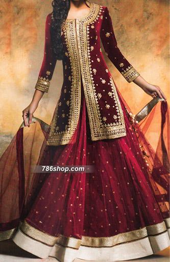 Maroon Velvet Suit   Pakistani Wedding Dresses in USA