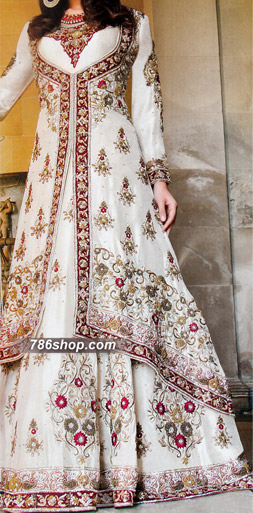 White Crinkle Chiffon Suit | Pakistani Wedding Dresses in USA