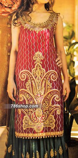 Maroon/Black Crinkle Chiffon Suit | Pakistani Wedding Dresses in USA