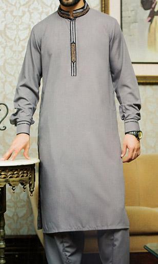 Grey Shalwar Kameez Suit | Pakistani Dresses in USA
