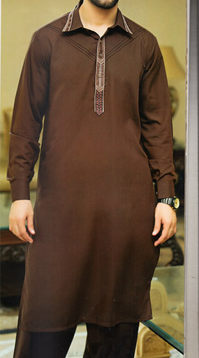 Dark Brown Shalwar Kameez | Pakistani Dresses in USA