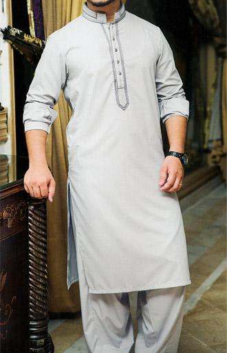 Ash White Shalwar Kameez   Pakistani Dresses in USA