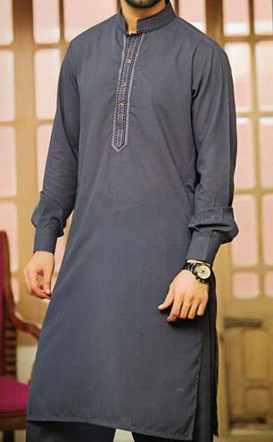Dark Grey Shalwar Kameez Suit   Pakistani Dresses in USA