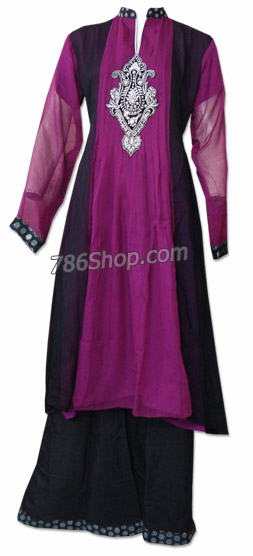 Magenta/Black Chiffon Suit | Pakistani Dresses in USA